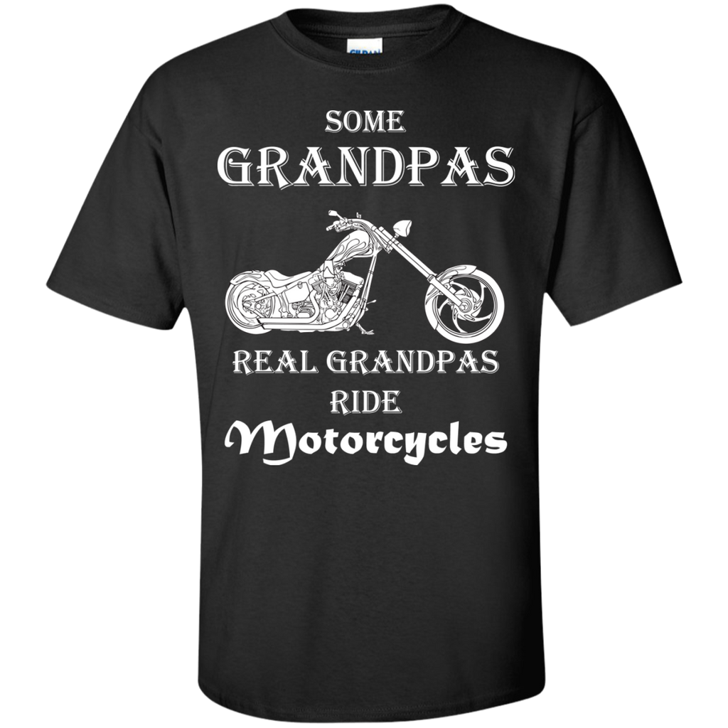 Real-grandpas-ride-Motorcycles-Cotton-T-Shirt-Black-S-