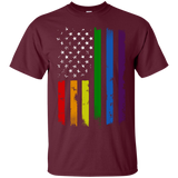 Gay-Pride-Flag---Rainbow-American-Flag-T-Shirt-Black-S-
