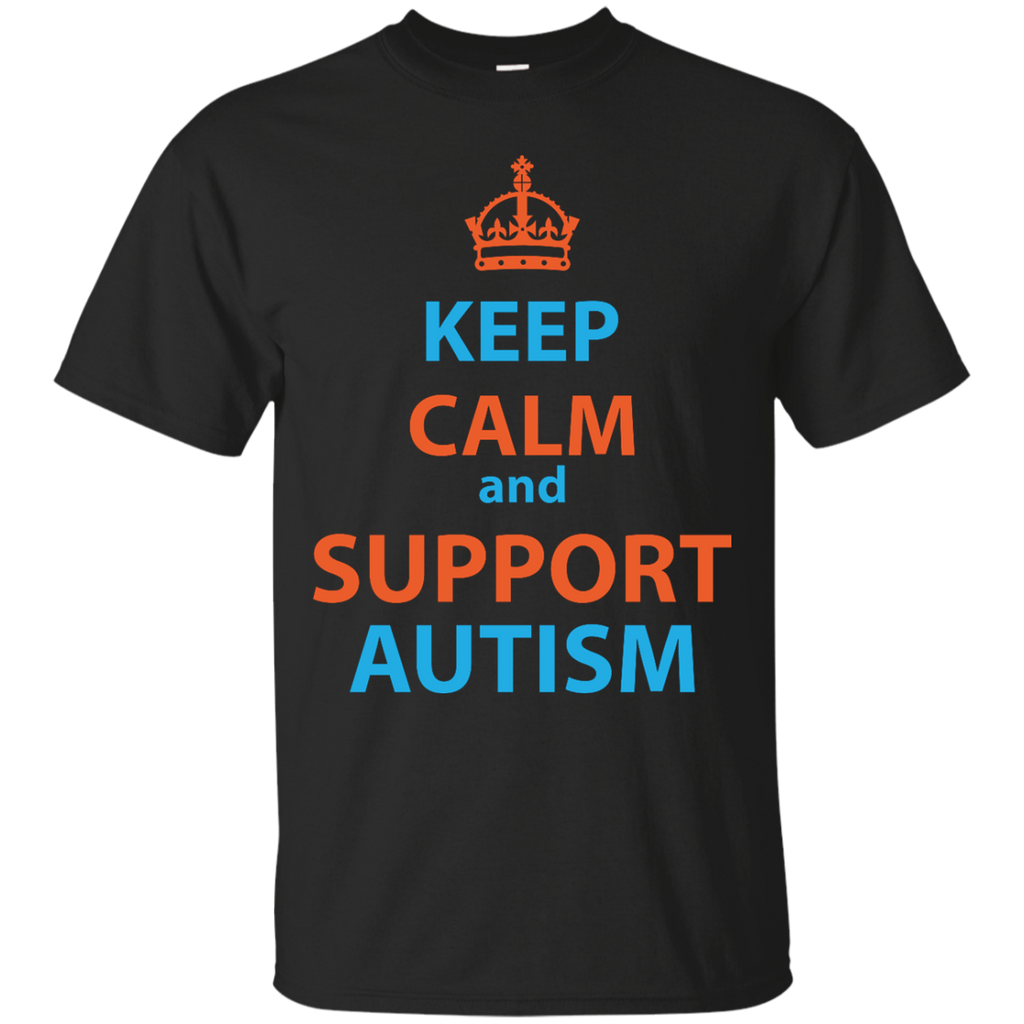 Support-Autism---Keep-calm-and-support-autism---Men/Women-T-Shirt-Custom-Ultra-Cotton-T-Shirt-Black-S