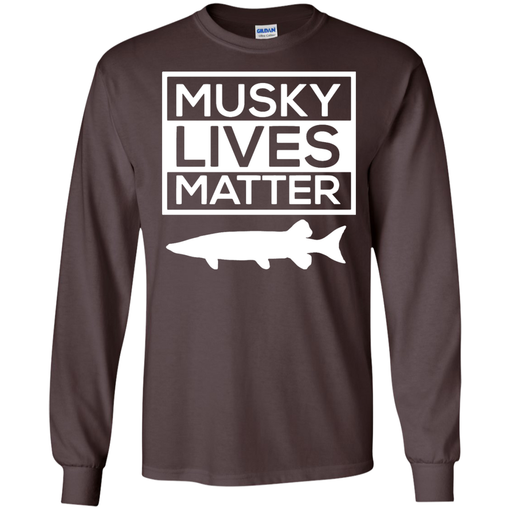 Musky-Lives-Matter-Muskellunge-Musky-Fishing-Funny---Long-Sleeve-LS,-Sweatshirt,-Hoodie-LS-Ultra-Cotton-Tshirt-Black-S