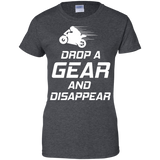 Drop-a-gear-&-Disappear-Motorcylce-Ladies-Custom-100%-Cotton-T-Shirt-Black-XS-
