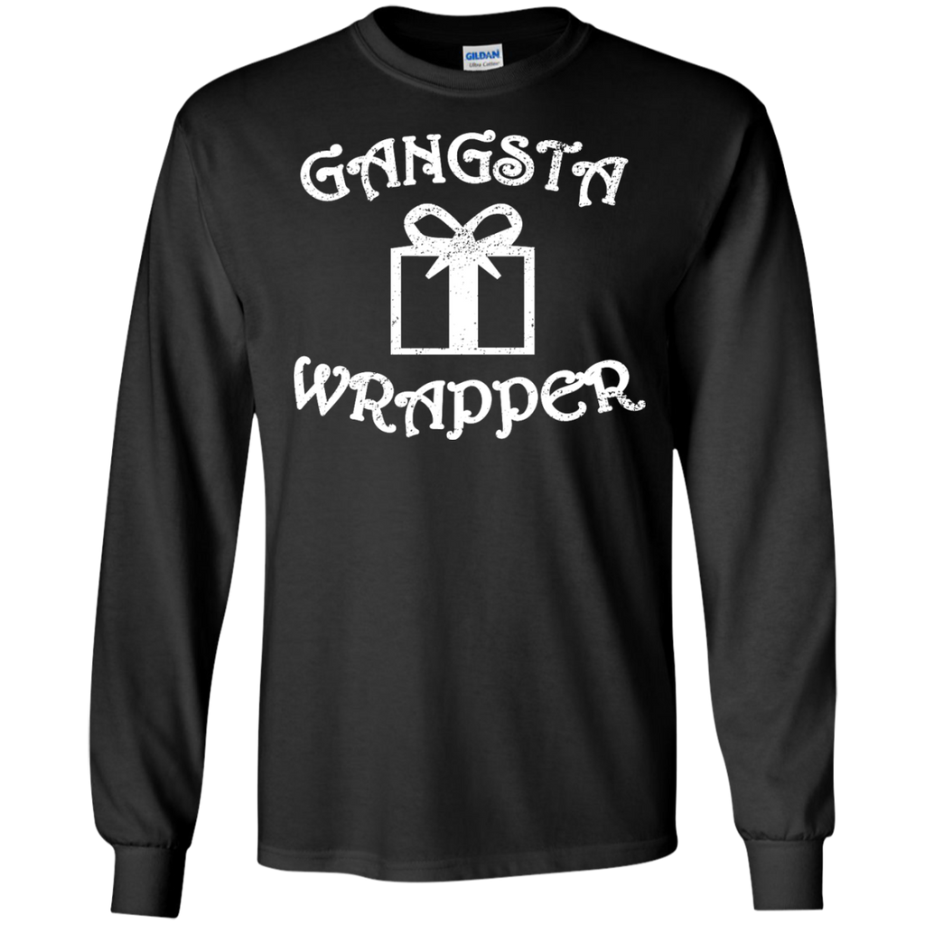 0384a90e Gangsta Wrapper Funny Holiday Christmas Gift Rapper LS Tshirt – TeeEver