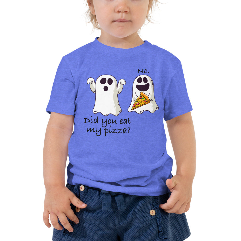 Funny Ghost Halloween Pizza-Did you eat my pizza Toddler Tshirt