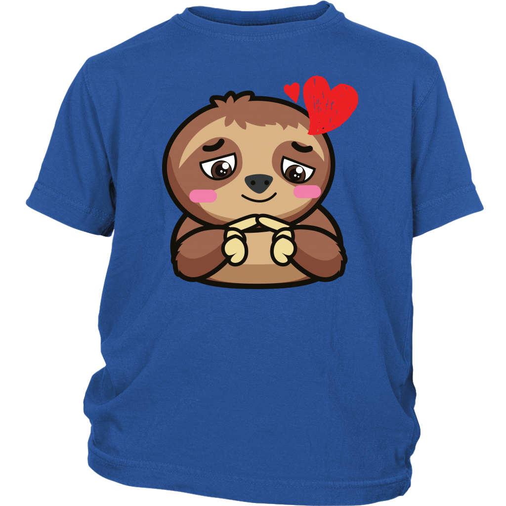 Sloth-Hearts-Love-Valentines-Gift-For-kid-Cute-District-Youth-Shirt-Royal-Blue-XS