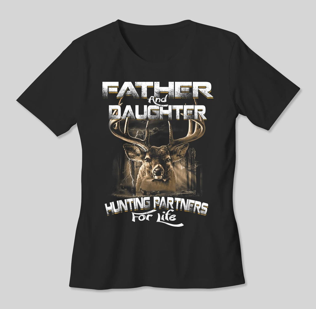 Funny-Gift-Father-and-Daughter-Hunting-Partners-For-Life-T-Shirt-Men-T-Shirt-Black-S