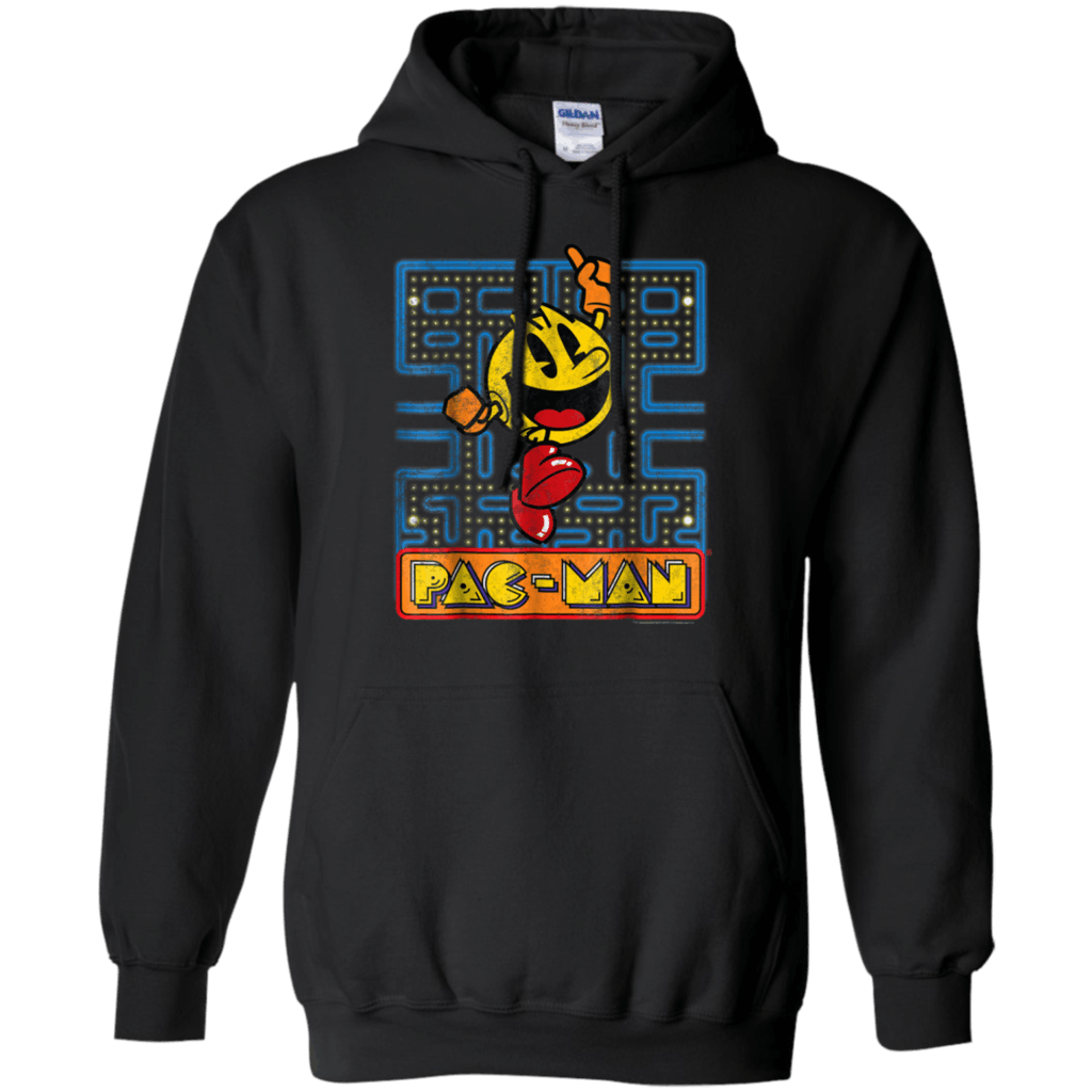 Pac-Man-Smiley-Number-One-Vintage-Graphic-Pullover-Hoodie-Black-S-