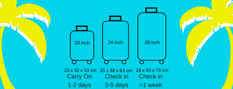 Luggage size comparison 20 inch vs 24 inch vs 28 inch