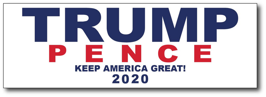 Donald Trump and Mike Pence 2020 White Magnetic Bumper Sticker