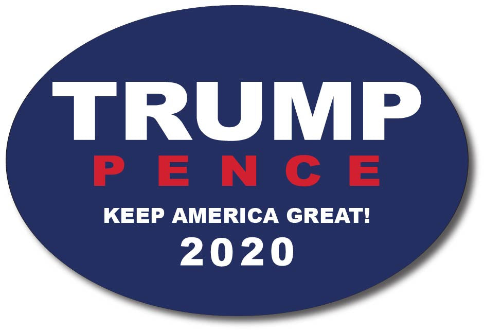 Donald Trump and Mike Pence 2020 Oval Bumper Sticker