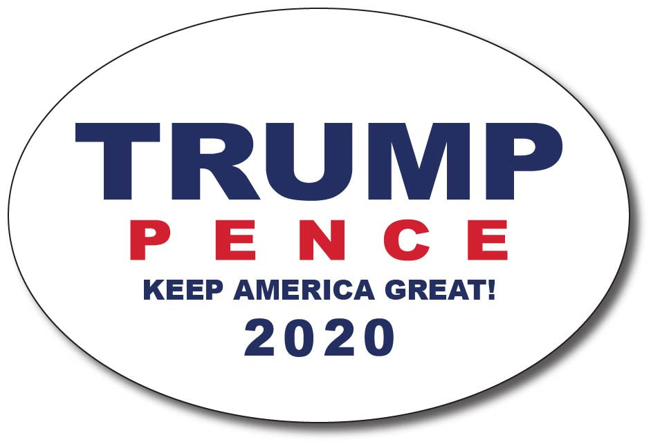 Donald Trump and Mike Pence 2020 White Oval Bumper Sticker