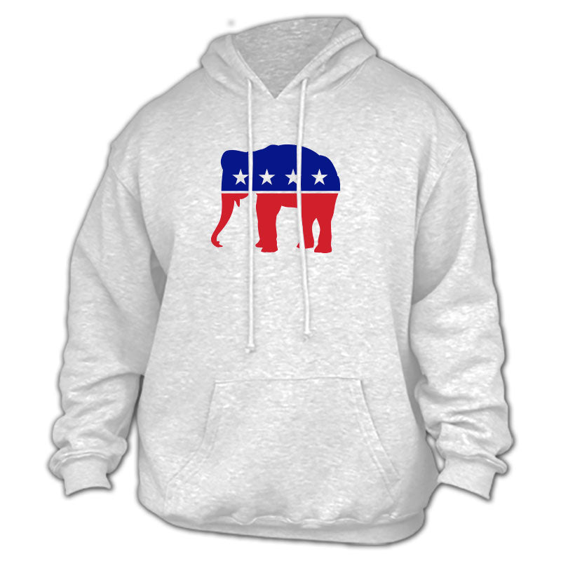 Republican - Red, White & Blue Elephant Gray Hoodie