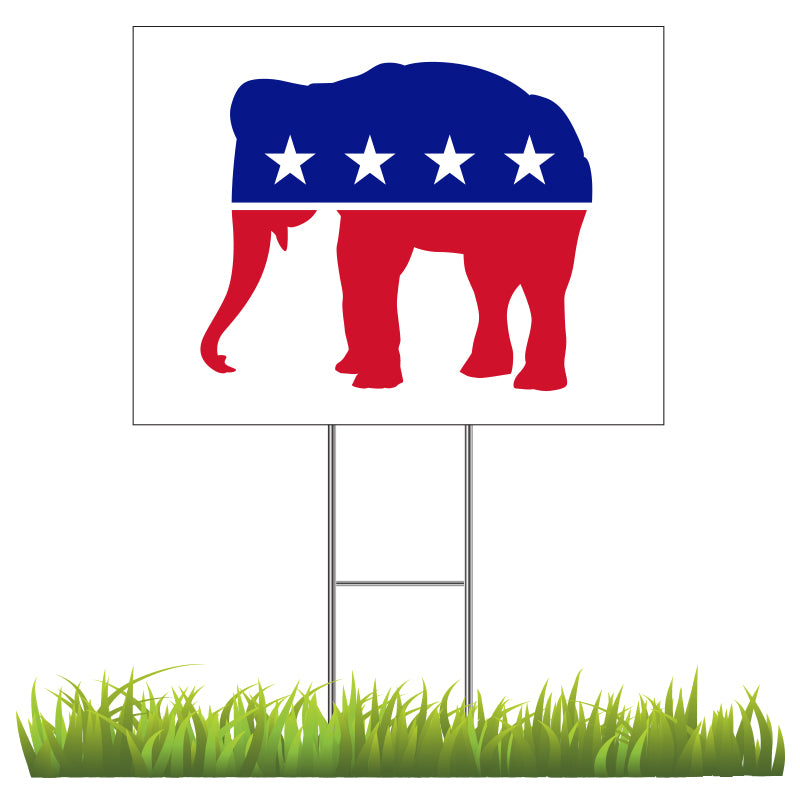 Republican - Red, White & Blue Elephant Yard Sign