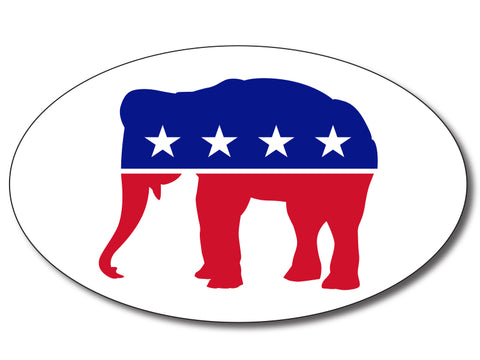 Republican - Red, White & Blue Elephant Oval Bumper Sticker