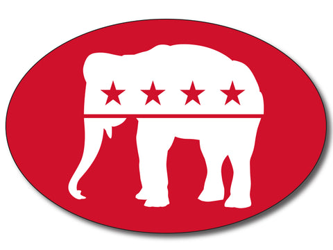 Republican - Red Elephant Oval Bumper Sticker