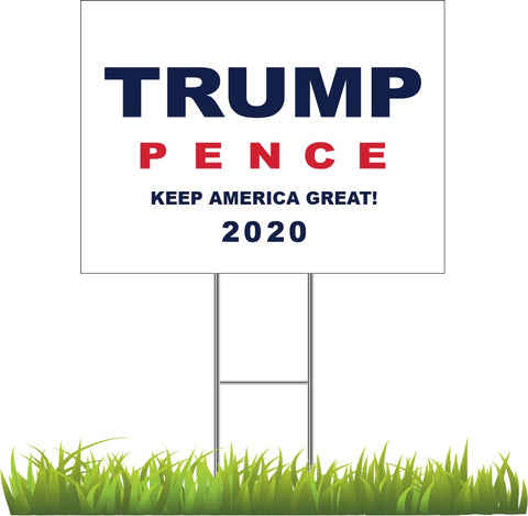 Donald Trump and Mike Pence 2020 White Yard Sign