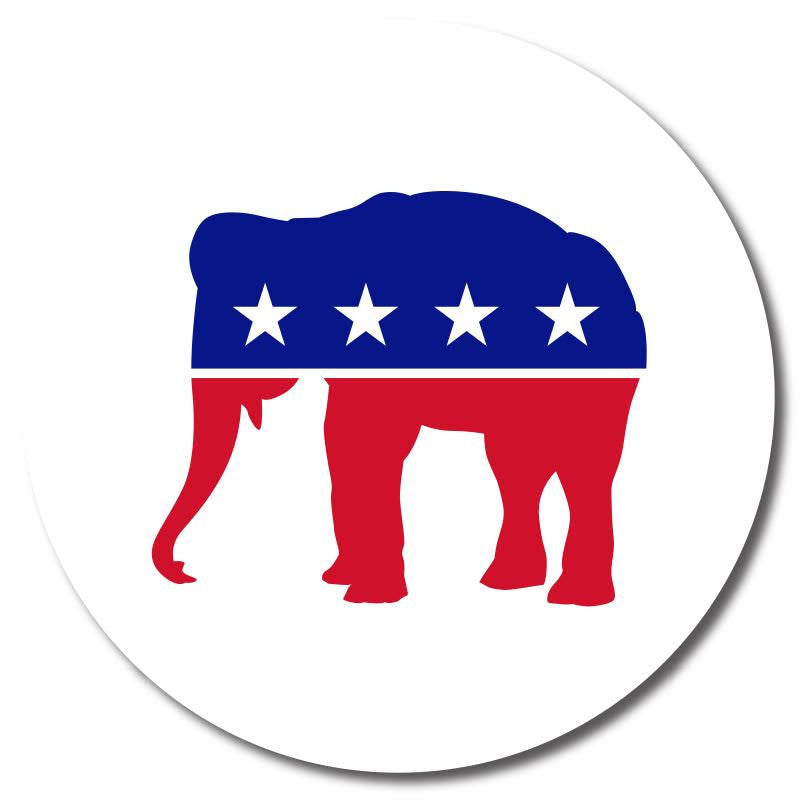 Republican - Red, White & Blue Elephant Button