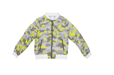 CLUB MONACO Yellow, Green, Grey Camouflage Pattern Jacket