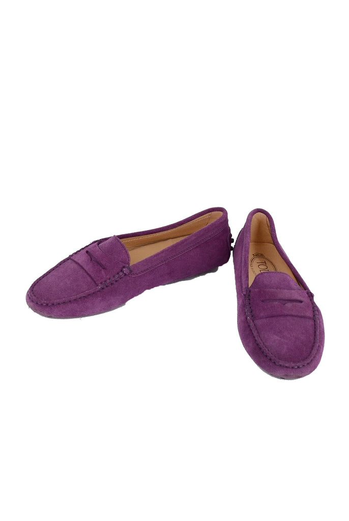 TOD'S Purple Suede Loafer Flats