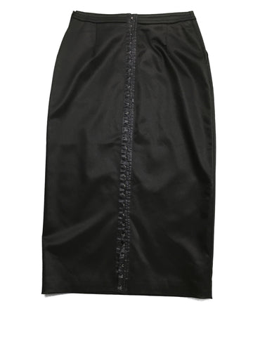 ST. JOHN Black Couture Midi Skirt with Button detail