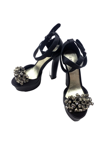 0c56b02a926 ZIGI GIRL Black Heels with Rhinestones