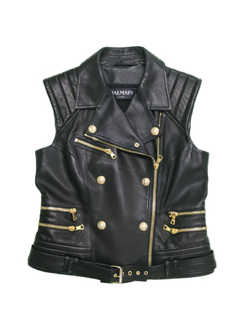 BALMAIN Black Leather Vest