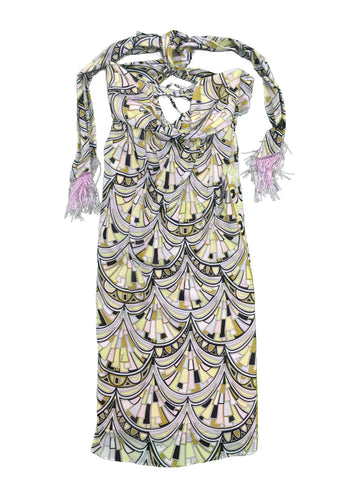 EMILIO PUCCI Multi-colour Printed Halterneck Dress with Beading