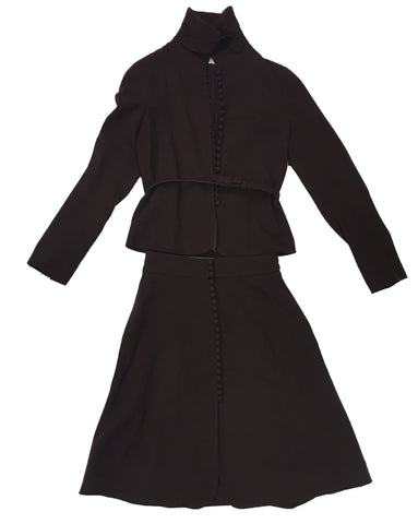 VALENTINO Burgundy Skirt Suit with Belt
