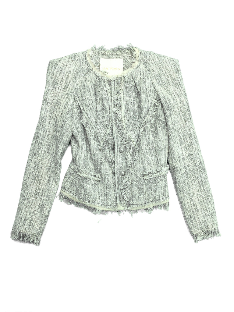 ZAC POSEN Green and White Pattern Blazer