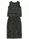 GIAMBATTISTA VALLI Silk Top & Wool Skirt Set with Black and White Tweed Pattern