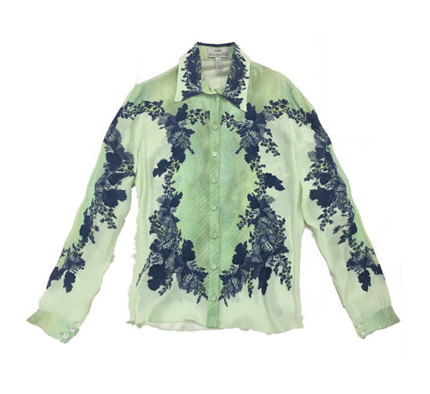 ERDEM Light Green Blouse with Blue Floral Print