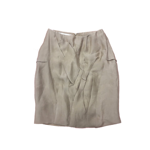 MARNI Light Brown Silk Ruffle Skirt