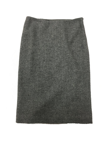 RALPH LAUREN Grey Wool Straight Skirt
