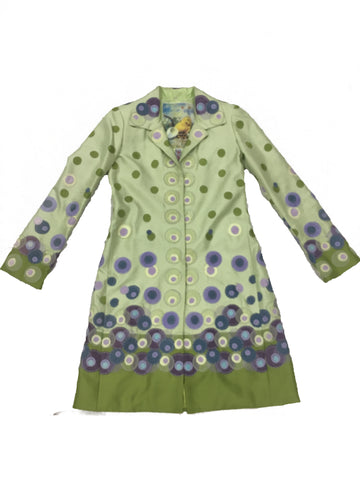 BIYA Green and Purple Dotted Silk Coat