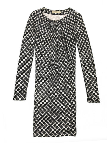 BALENCIAGA Black & White Geometric Patterned Silk Dress