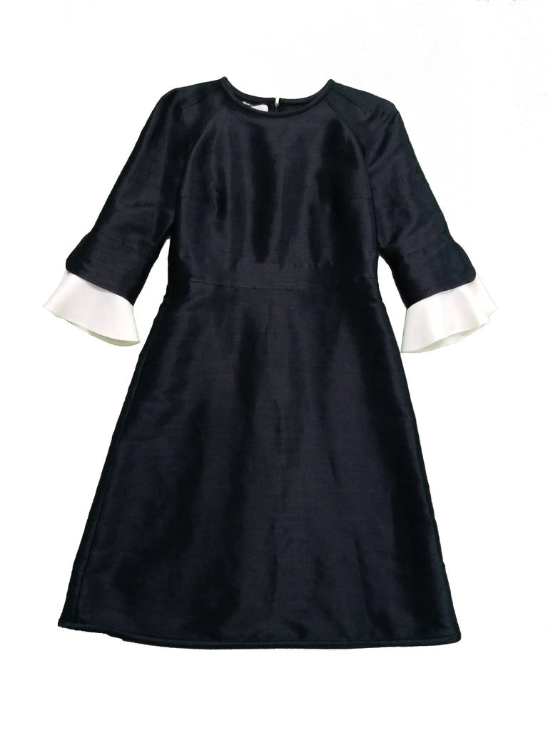 VALENTINO Black Dress with White Ruffle Sleeves