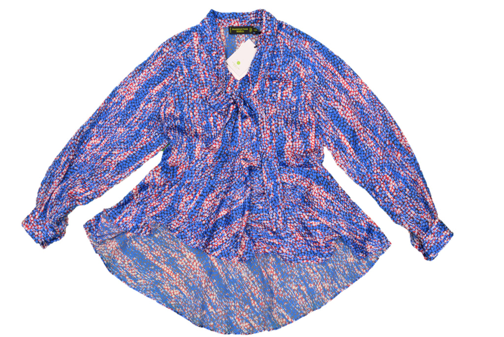 SHANGHAI TANG Blue, Red, White Pattern Blouse with Tie