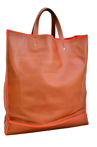 JIL SANDER Brown and Orange Terracotta Tote Bag
