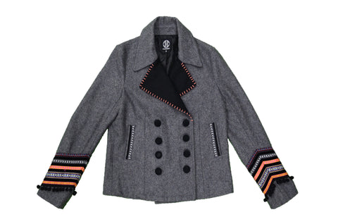 CHICAMEO Grey Embroidered Woollen Jacket