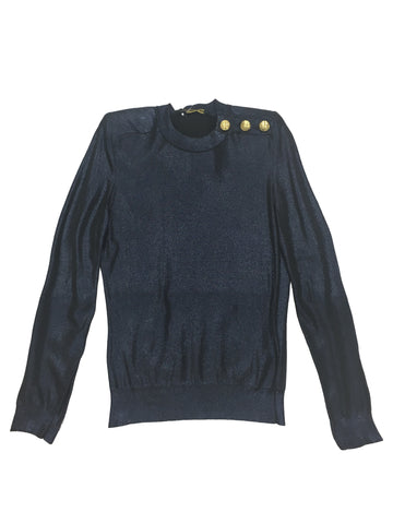 BALMAIN X H&M Navy Metallic Jumper/Top