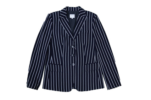 ARMANI COLLEZIONI Navy White Stripes Wide Jacket