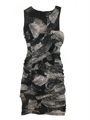 BCBG MAX AZRIA Grey Black Patterned Dress