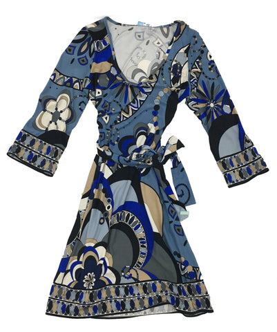 EMILIO PUCCI Blue Printed Wrap Dress