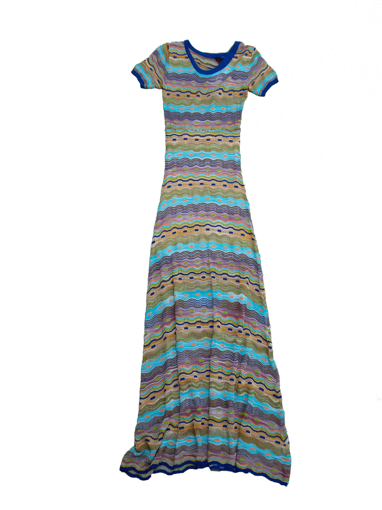 Multi-colour Short Sleeves Maxi Dress