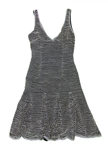ARMANI Black V-neck Dress with White Beading