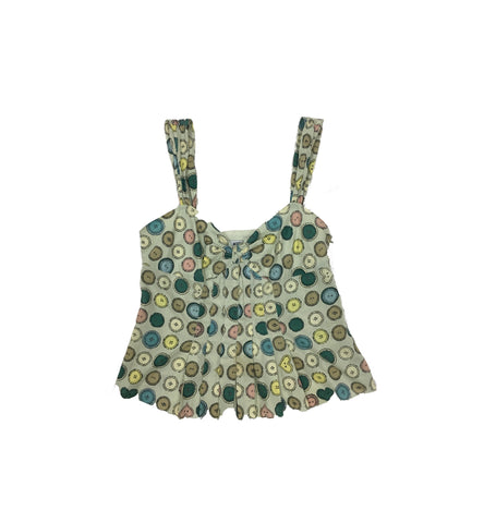 MOSCHINO Light Green Tank Top with Button Print