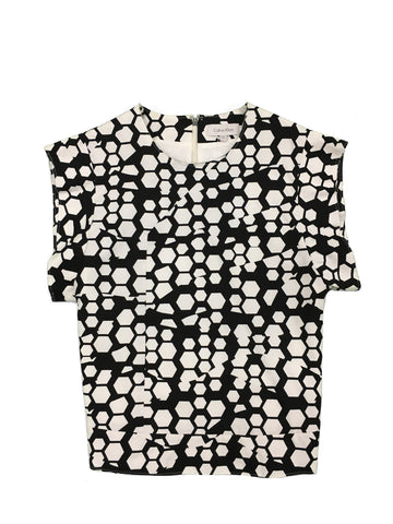 CALVIN KLEIN Black and White Geometric Pattern Blouse