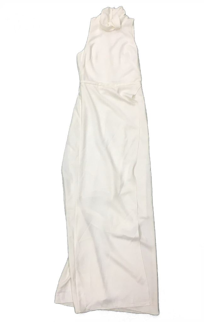 CAMILLA AND MARC Full Length White Contour Dress with Knot Detail at Neck