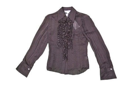 TRINA TURK Brown Shirt with Frill Detail
