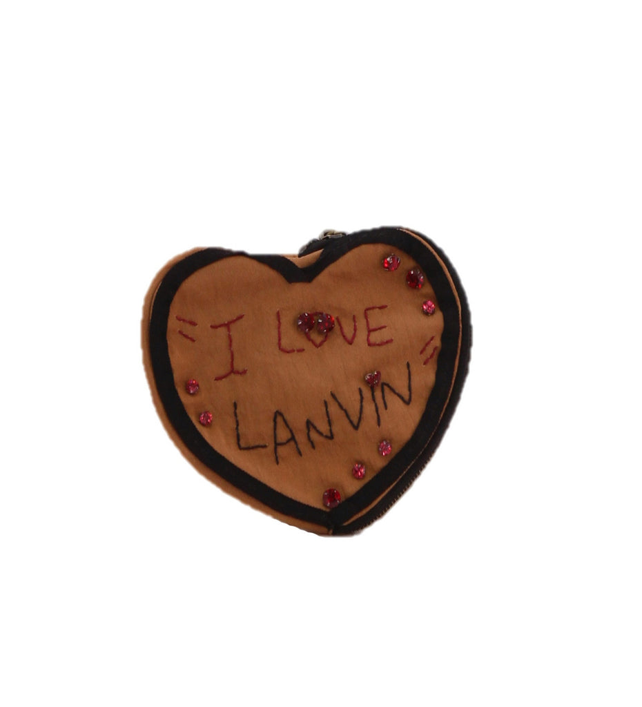 LANVIN Heart Shaped Brown Purse with Rhinestones