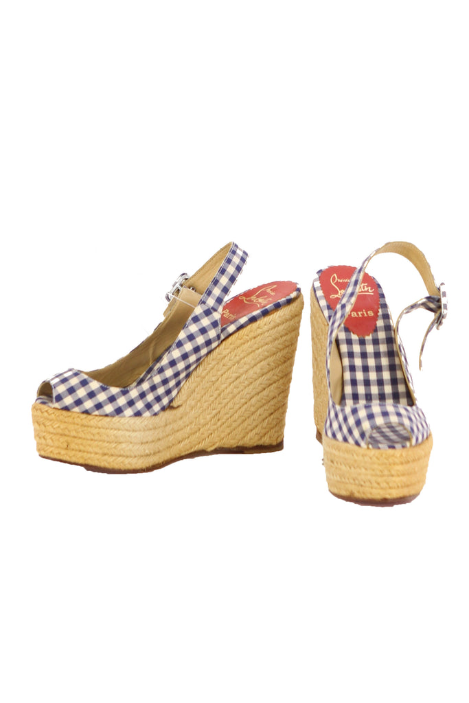 CHRISTIAN LOUBOUTIN Open Toe Plaid Slingback Wedges